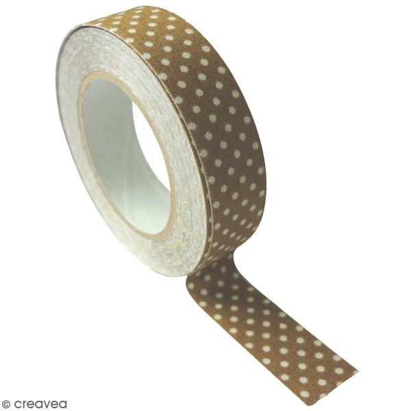 Masking Tape tissu - Coloris Tabac à pois blanc - 15 mm x 5 m - Photo n°1