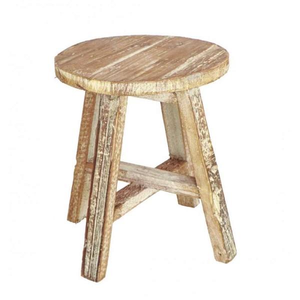 Déco de table Tabouret bois effet vieilli D.19 cm - Photo n°1