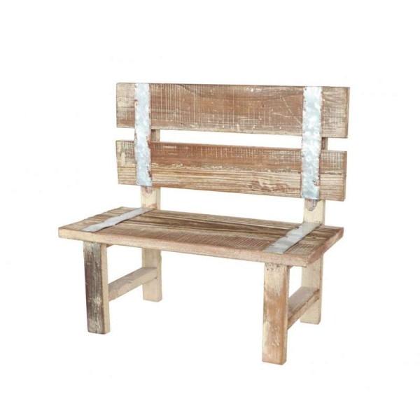 Déco de table Banc bois effet vieilli 38 cm - Photo n°1