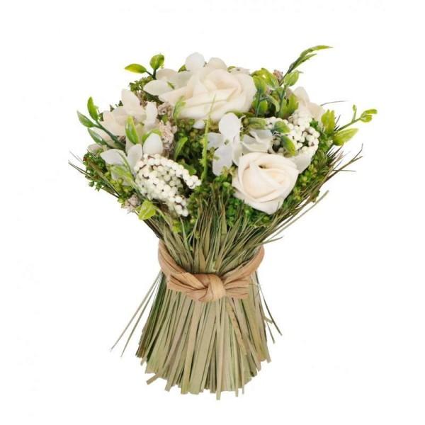 Bouquet artificiel roses blanches et raphia D.13 cm rond à poser - Photo n°1