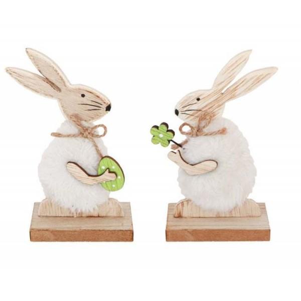 2 Lapins de Pâques bois et fourrure assortis - Photo n°1