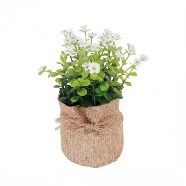 Pot en jute avec plantes et fleurs artificielles 7,5 x 16 cm - Photo n°1