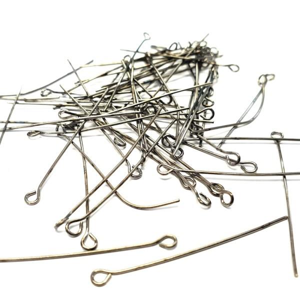 Tiges clous tête à oeillets 40 mm pour créations bijoux (50 pièces) Anthracite - Photo n°1