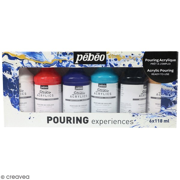 Set Peinture Pouring prêt-à-l'emploi Pébéo - 6 couleurs - Photo n°1
