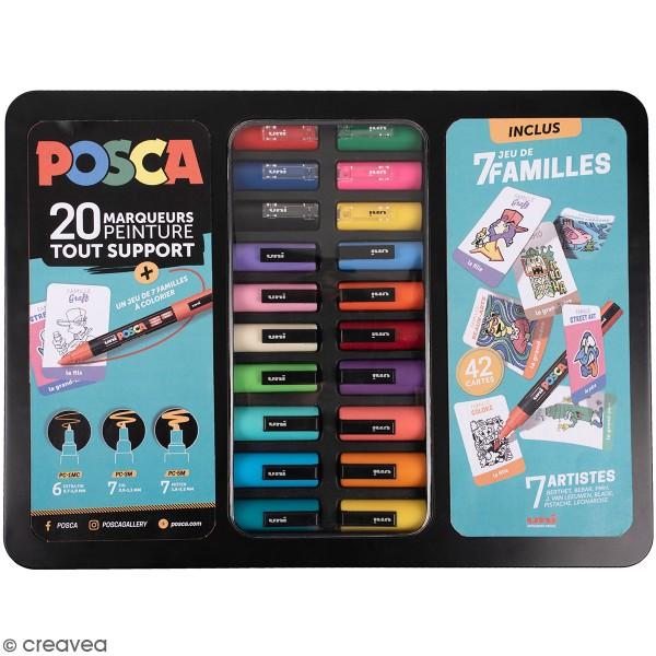 Mallette métal Posca - 7 familles - 20 marqueurs - Photo n°1