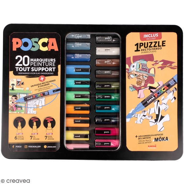 Mallette métal Posca - Street puzzle - 20 marqueurs - Photo n°1