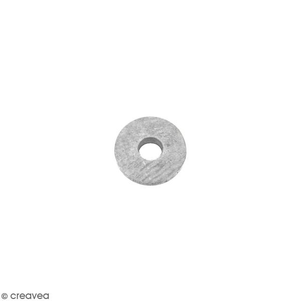 Perle rondelle en métal - Argenté - 6 x 1 mm - Photo n°1
