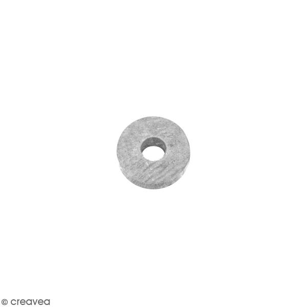 Perle rondelle en métal - Argenté - 6 x 2 mm - Photo n°1