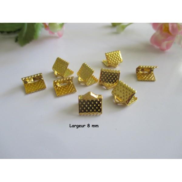 Embouts ruban à griffes 8 mm doré x 50 - Photo n°1