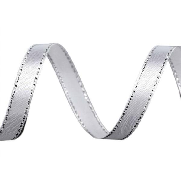 22,5 m 1 Blanc d'Argent, Ruban en Satin Avec Lurex Largeur 10mm, des Fournitures d'Artisanat, Artisa - Photo n°1