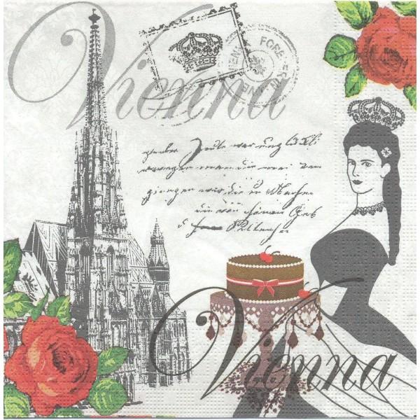 4 Serviettes en papier Vienne Format Lunch Decoupage Decopatch 133-1233 PPD - Photo n°1