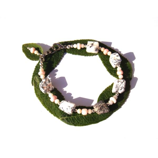 Bracelet Merlinite et Opale Rose 18 CM à 19.5 CM de tour de poignet - Photo n°2