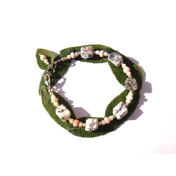 Bracelet Merlinite et Opale Rose 18 CM à 19.5 CM de tour de poignet - Photo n°1