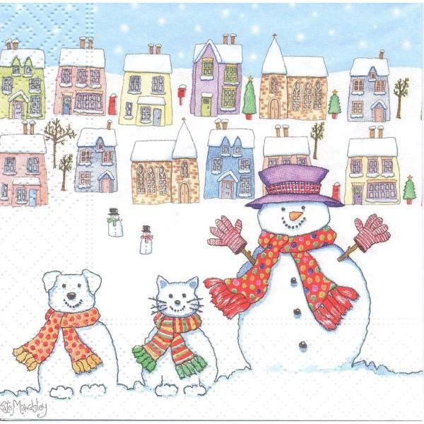 4 Serviettes en papier Chat Chien Homme de Neige Format Lunch Decoupage Decopatch 60763 Paper+Design - Photo n°1