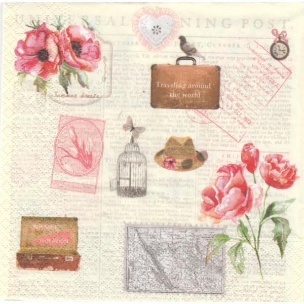 4 Serviettes en papier Journal décor Vintage Format Lunch Decoupage Decopatch 74473 Nouveau - Photo n°1