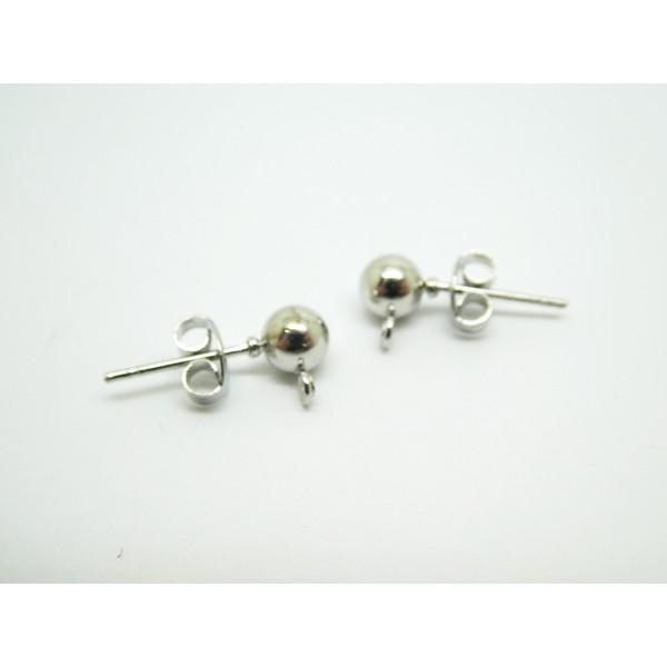 2 Paires boucles d'oreilles clous boule 5mm - 16*7.5mm - argent platine - Photo n°1