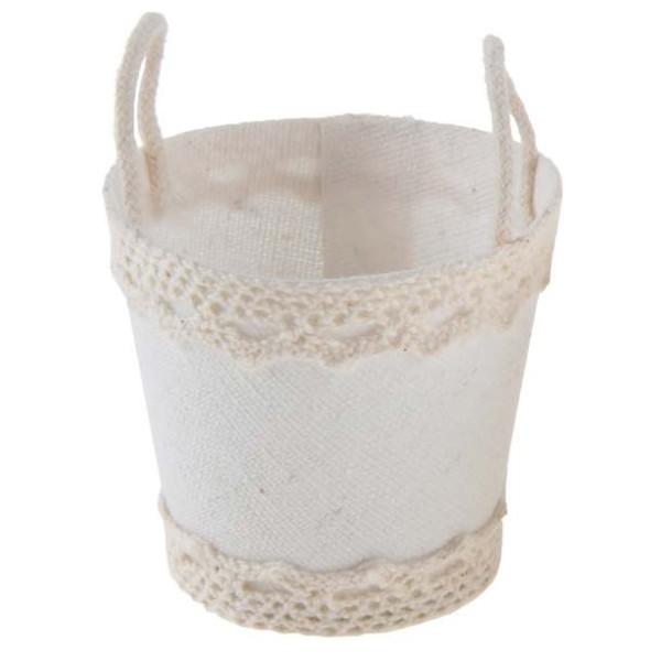 4 Minis paniers en coton et dentelle coloris blanc pour dragées. - Photo n°1