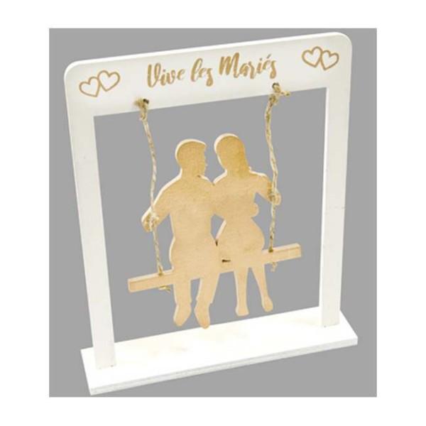 Centre de table Couple de mariés sur balançoire or - Photo n°1