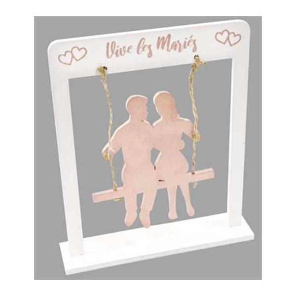 Centre de table Couple de mariés sur balançoire rose gold - Photo n°1