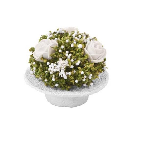 2 Chapeaux blancs garnis de fleurs séchées et artificielles - Photo n°1