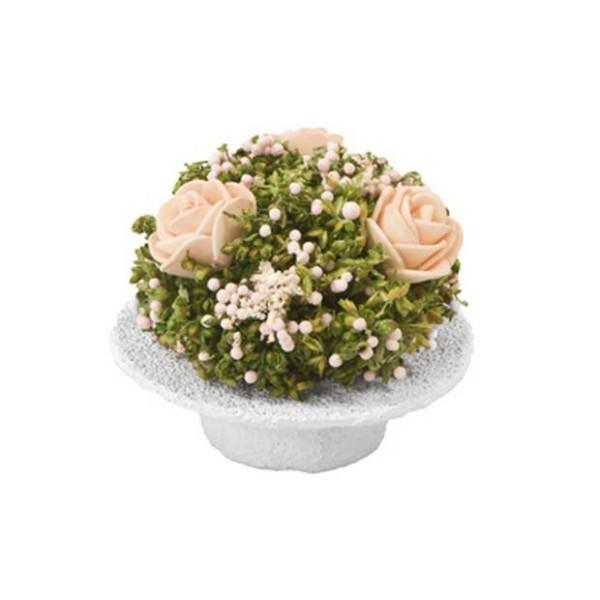 2 Chapeaux garnis de fleurs séchées et artificielles rose - Photo n°1