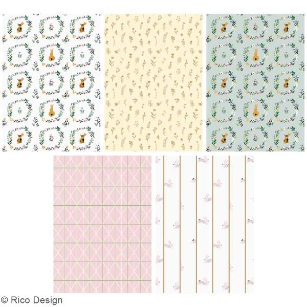 Bloc papier scrap A4 à motifs - Gold et Néon - Pâques - 30 feuilles - Photo n°4