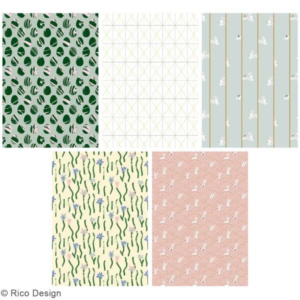Bloc papier scrap A4 à motifs - Gold et Néon - Pâques - 30 feuilles - Photo n°5