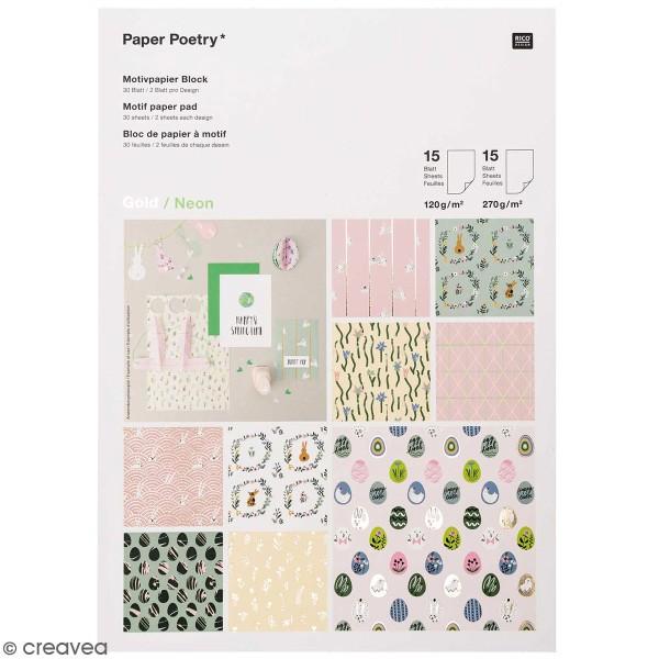 Bloc papier scrap A4 à motifs - Gold et Néon - Pâques - 30 feuilles - Photo n°1