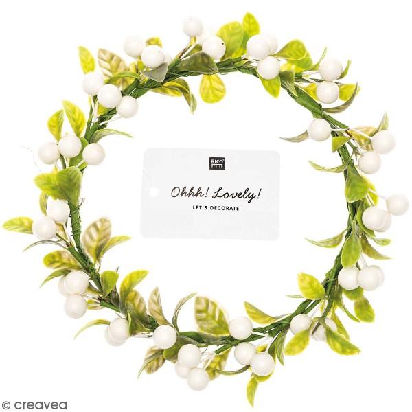 Couronne de fleurs artificielles - Baies blanches - 12,5 cm - Photo n°1