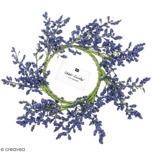 Couronne de fleurs artificielles - Lilas mauve - 9 cm - Photo n°1