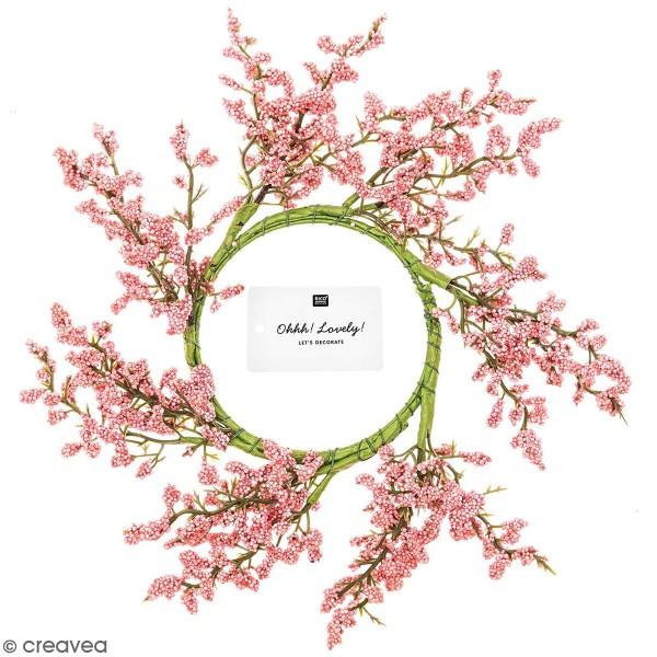 Couronne de fleurs artificielles - Lilas rose - 9 cm - Photo n°1