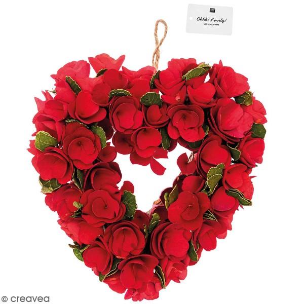 Couronne de fleurs  - Bois - Fleurs rouges - 25 x 28 cm - Photo n°1