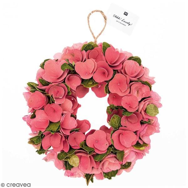 Couronne de fleurs - Bois - Fleurs roses - 25 - Photo n°1