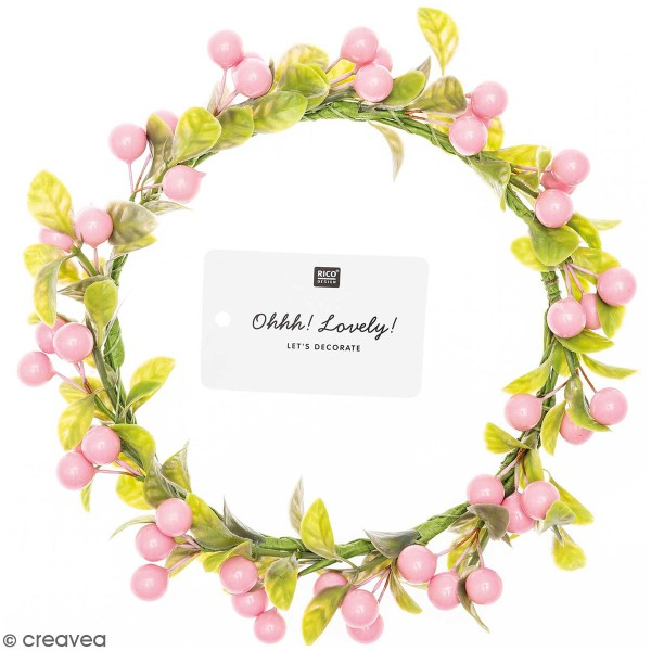 Couronne de fleurs artificielles - Baies roses - 12,5 cm - Photo n°1