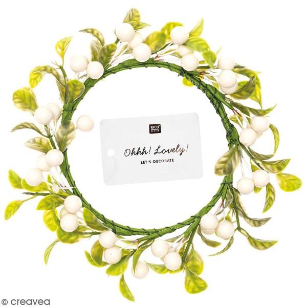 Couronne de fleurs artificielles - Baies blanches - 9,5 cm - Photo n°1