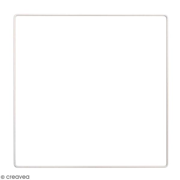 Anneau en métal carré - blanc - 25 cm - Photo n°1