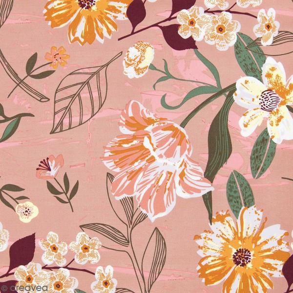 Tissu Rico - Toile de Jouy - Fleurs sur fond rose - Par 10 cm (sur mesure) - Photo n°1