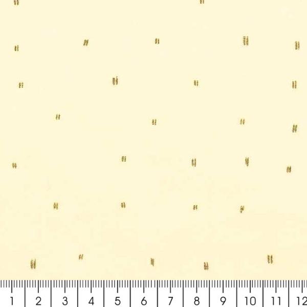 Tissu Rico - Double gaze de coton - Motifs gris sur fond jaune  - Par 10 cm (sur mesure) - Photo n°3
