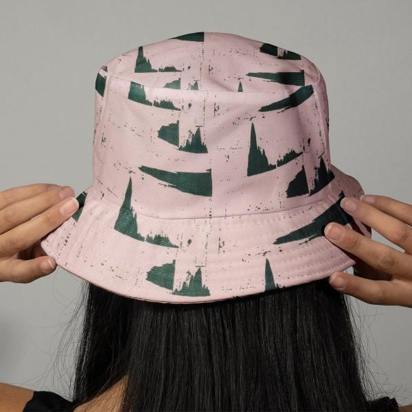 Tissu Rico - Double gaze de coton - Motifs verts sur fond rose - Par 10 cm (sur mesure) - Photo n°2
