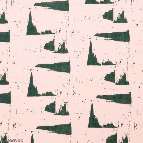Tissu Rico - Double gaze de coton - Motifs verts sur fond rose - Par 10 cm (sur mesure) - Photo n°1