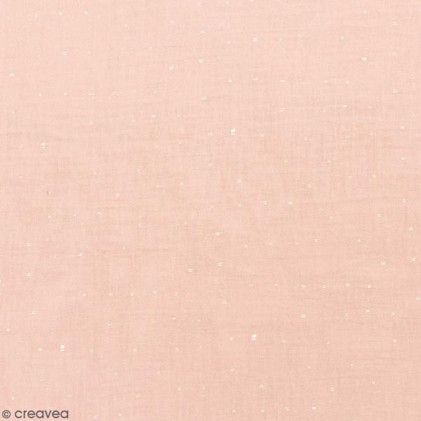 Tissu Rico - Double gaze de coton - Motifs dorés sur fond rose poudré - Par 10 cm (sur mesure) - Photo n°1