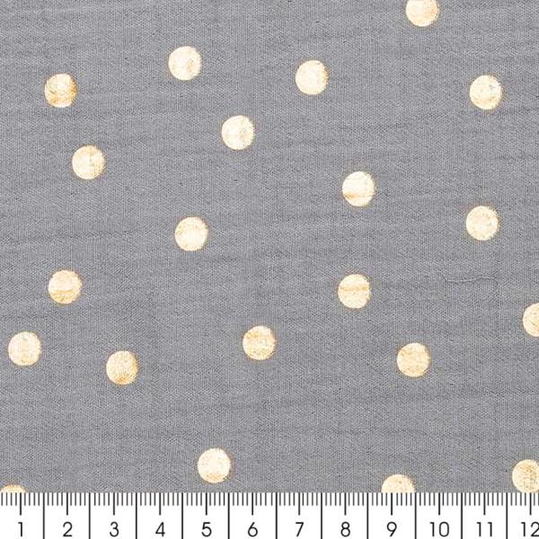 Tissu Rico - Double gaze de coton - Pois dorés sur fond gris bleu - Par 10 cm (sur mesure) - Photo n°2