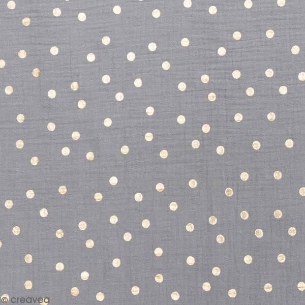 Tissu Rico - Double gaze de coton - Pois dorés sur fond gris bleu - Par 10 cm (sur mesure) - Photo n°1