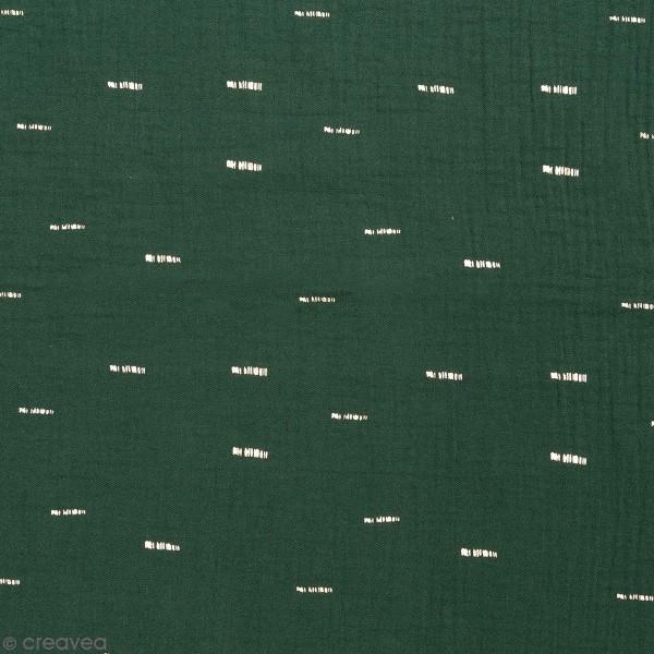 Tissu Rico - Double gaze de coton - Motifs dorés sur fond vert foret - Par 10 cm (sur mesure) - Photo n°1