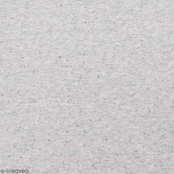 Tissu Rico - Jersey - Gris chiné et détails fluos - Par 10 cm (sur mesure) - Photo n°1