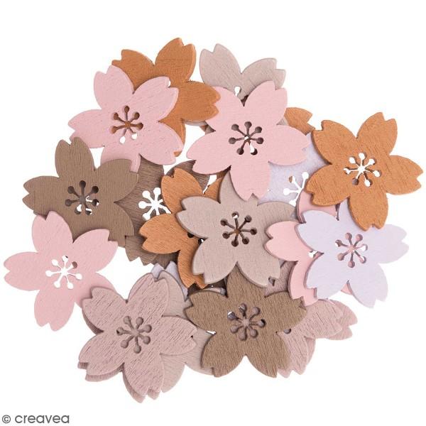 Miniatures en bois - Fleurs  - Mauve - 24 pcs - Photo n°1
