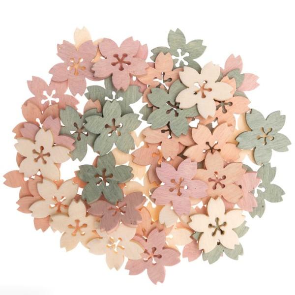Miniatures en bois - Fleurs de cerisier - Rose - 30 pcs - Photo n°1