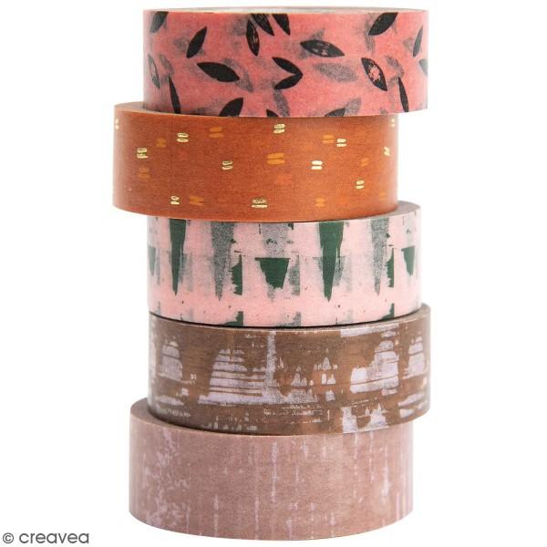 Set de masking tape - Motifs gravure - 1,5 cm x 10 m - 5 pcs - Photo n°1