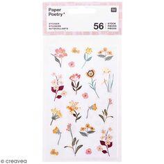 Stickers en papier Nature - Fleurs mauves - 56 pcs