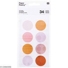 Stickers ronds en papier Nature - Pois mauves - 34 pcs